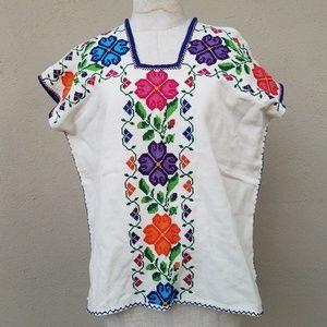 Botanical embroidered boho peasant top